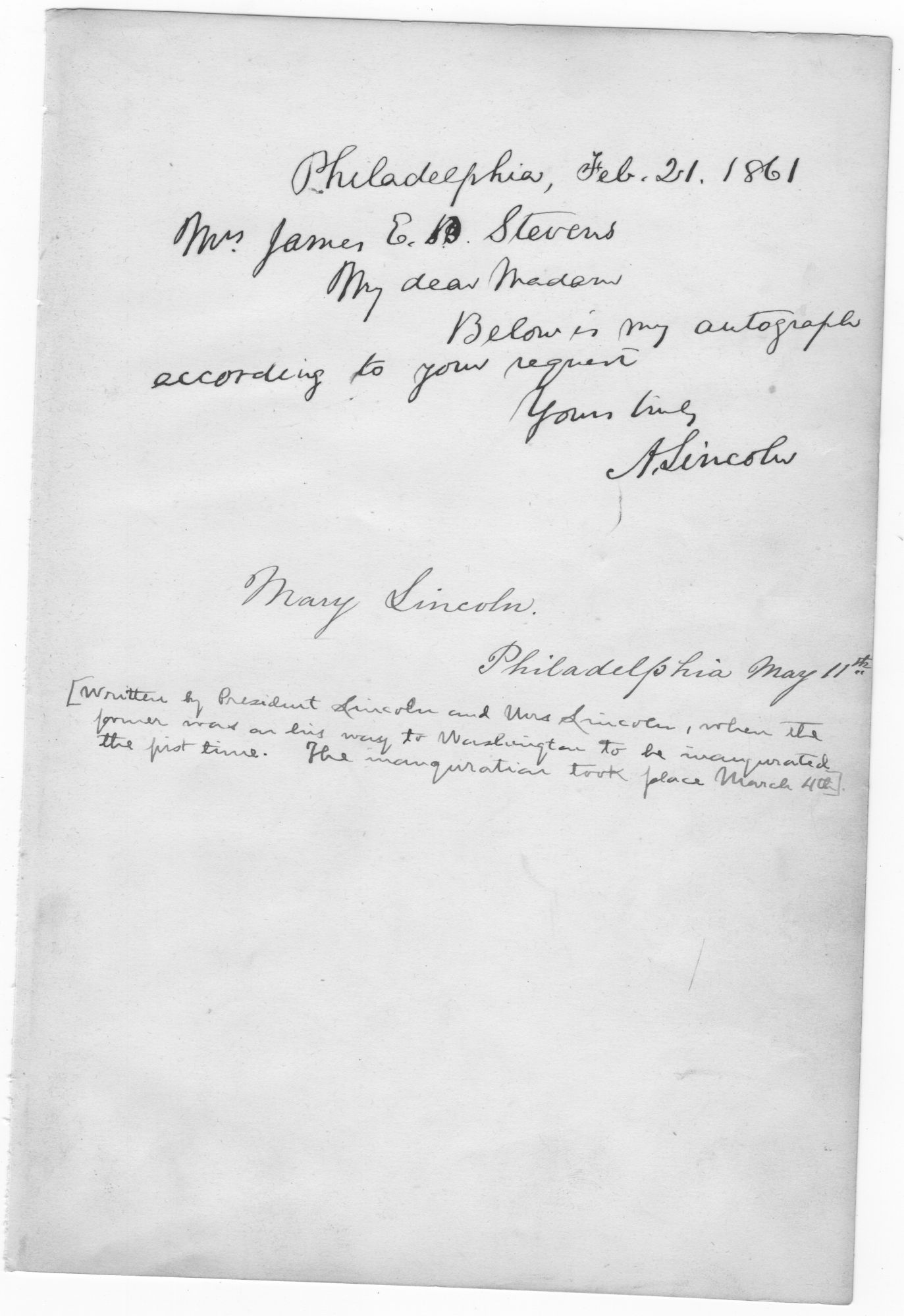 ABRAHAM LINCOLN AUTOGRAPH NOTE SIGNED WITH MARY TODD LINCOLN SIGNATURE. Abraham Lincoln, Mary Todd Lincoln.