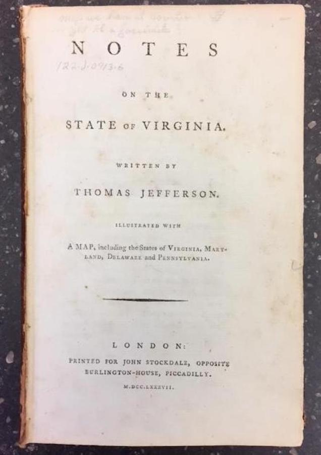 NOTES ON THE STATE OF VIRGINIA. Thomas Jefferson.