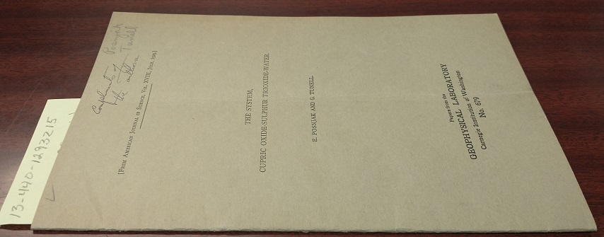 The System, Cupric Oxide-Sulphur Trioxide-Water [inscribed]. E. Posnjak, G. Tunell.