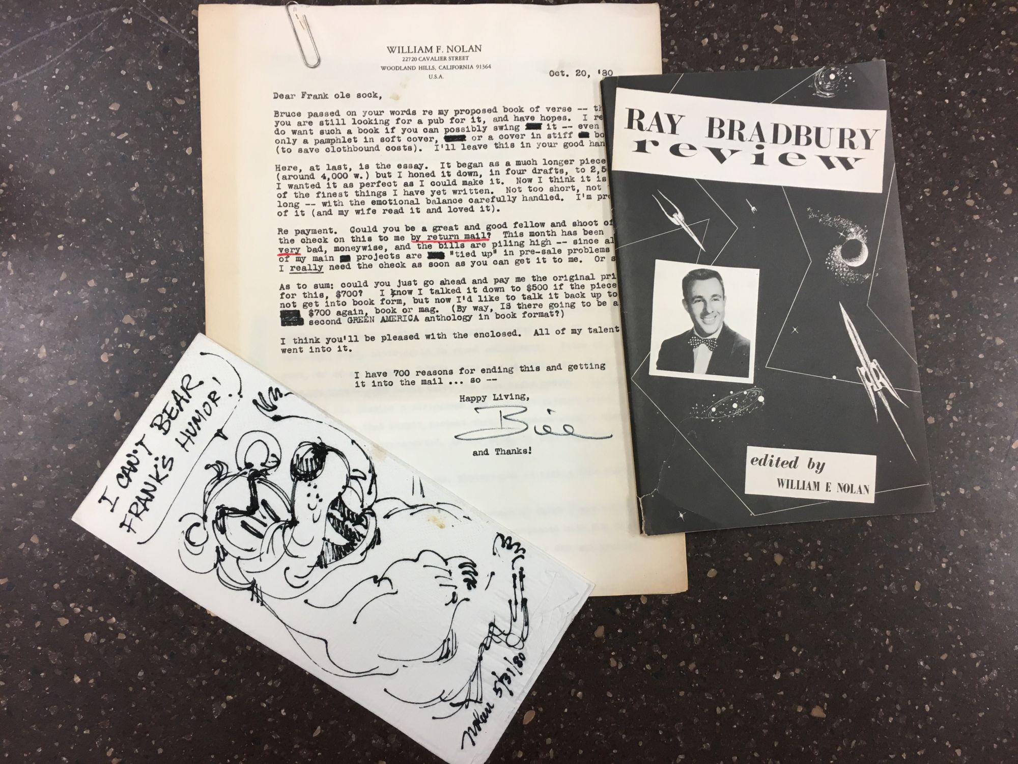 THREE ITEMS SIGNED BY WILLIAM F. NOLAN, INCLUDING THE RAY BRADBURY REVIEW, A NAPKIN DRAWING OF A BEAR, AND THE ORIGINAL MANUSCRIPT OF 'THE TREES OF YESTERDAY'. William F. Nolan, Ray Bradbury.