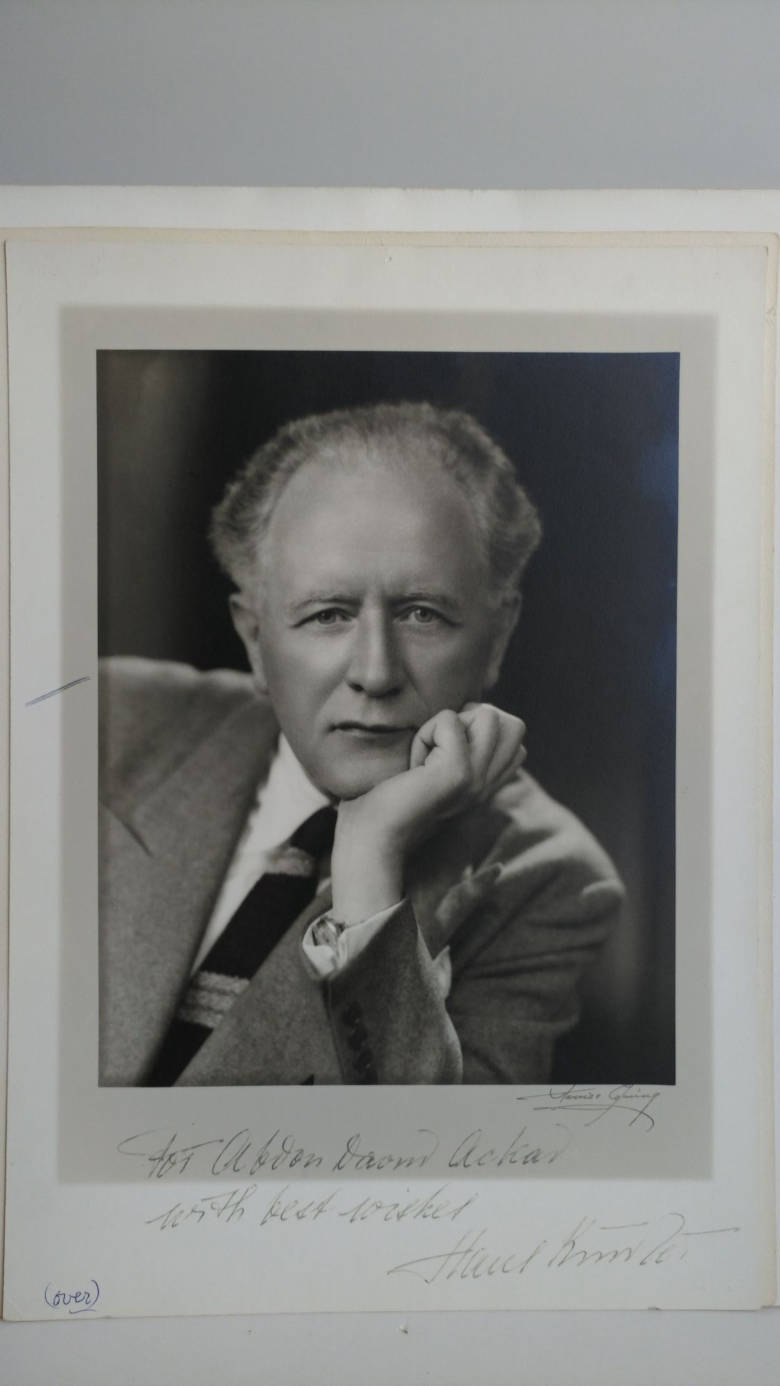 PHOTOGRAPH OF HANS KINDLER INSCRIBED TO PHOTOGRAPHER. Abdon Daoud Ackad.