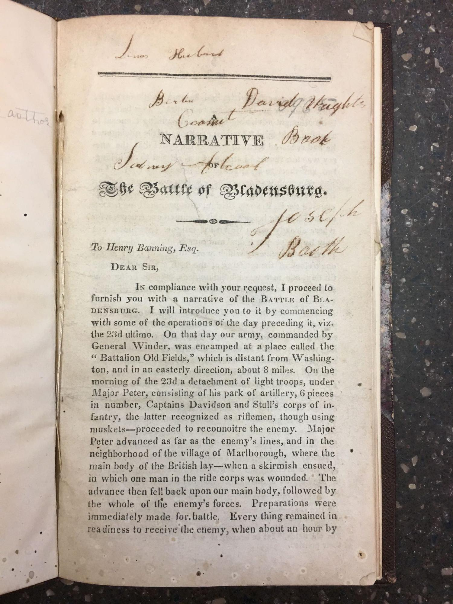 A NARRATIVE OF THE BATTLE OF BLADENSBURG; IN A LETTER TO HENRY BANNING, ESQ. BY AN OFFICER OF GEN. SMITH'S STAFF. Thomas L. McKenney, Thomas Loraine.