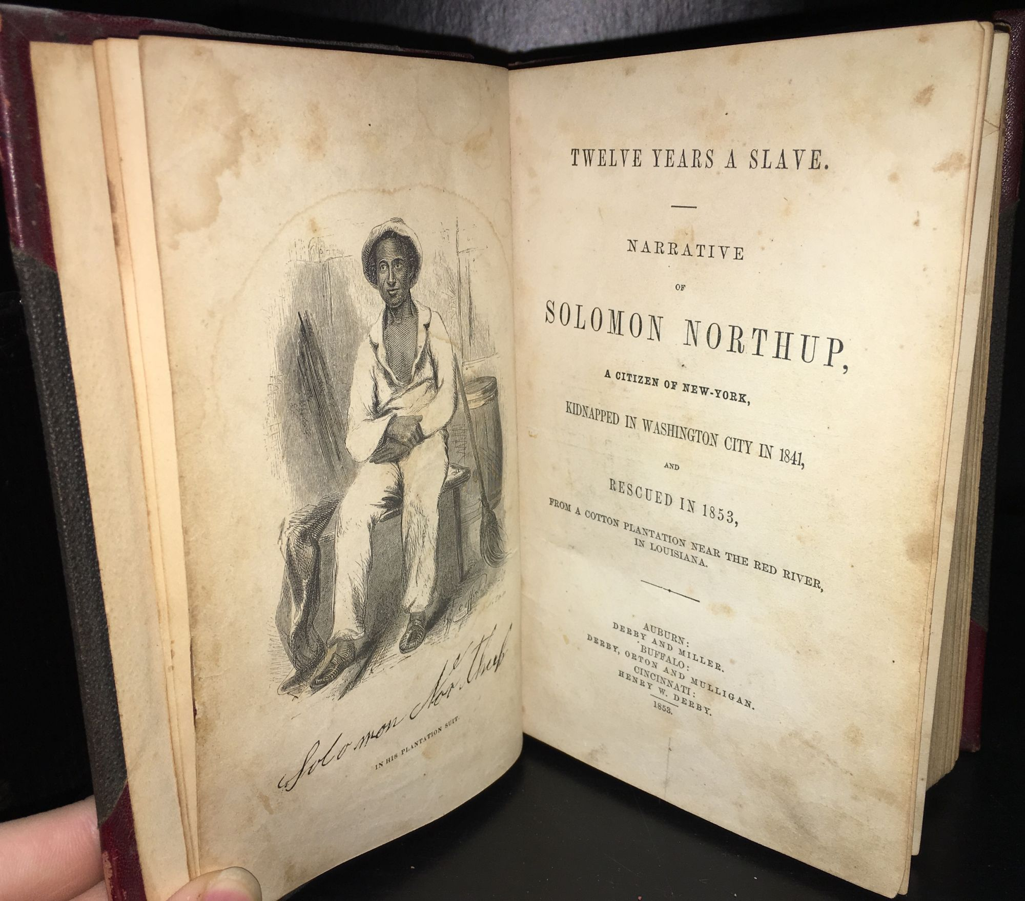 TWELVE YEARS A SLAVE. NARRATIVE OF SOLOMON NORTHUP, A CITIZEN OF NEW-YORK, KIDNAPPED IN WASHINGTON CITY IN 1841, AND RESCUED IN 1853, FROM A COTTON PLANTATION NEAR THE RED RIVER, IN LOUISIANA. Solomon Northup, David Wilson.