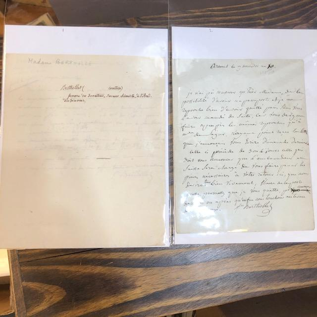 FOUR AUTOGRAPH LETTERS SIGNED. Madame Berthollet, Countess.
