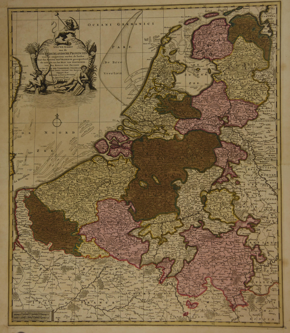 Map of the Netherlands, c. 1730. Ottens.