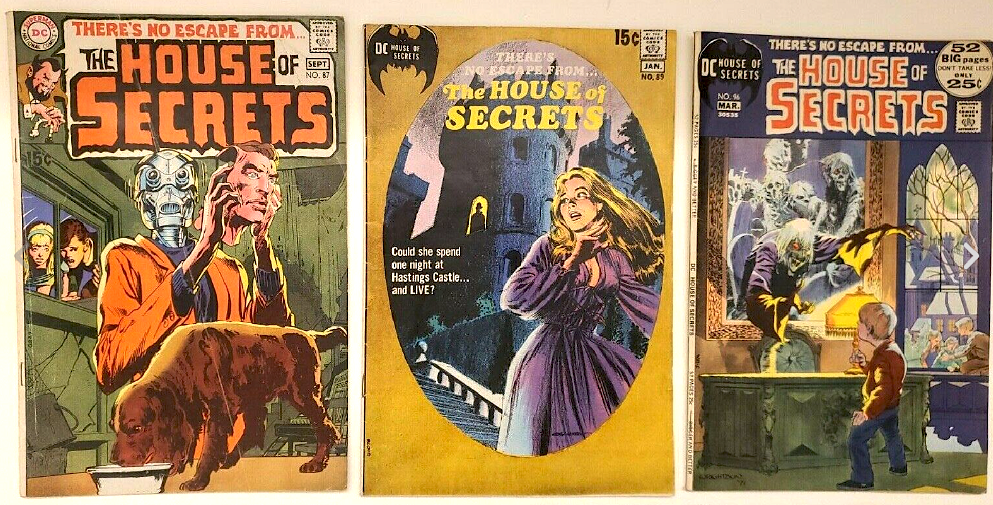 DC COMICS SILVER AGE THE HOUSE OF SECRETS No. 87 ,89 ,96 (3 issues)