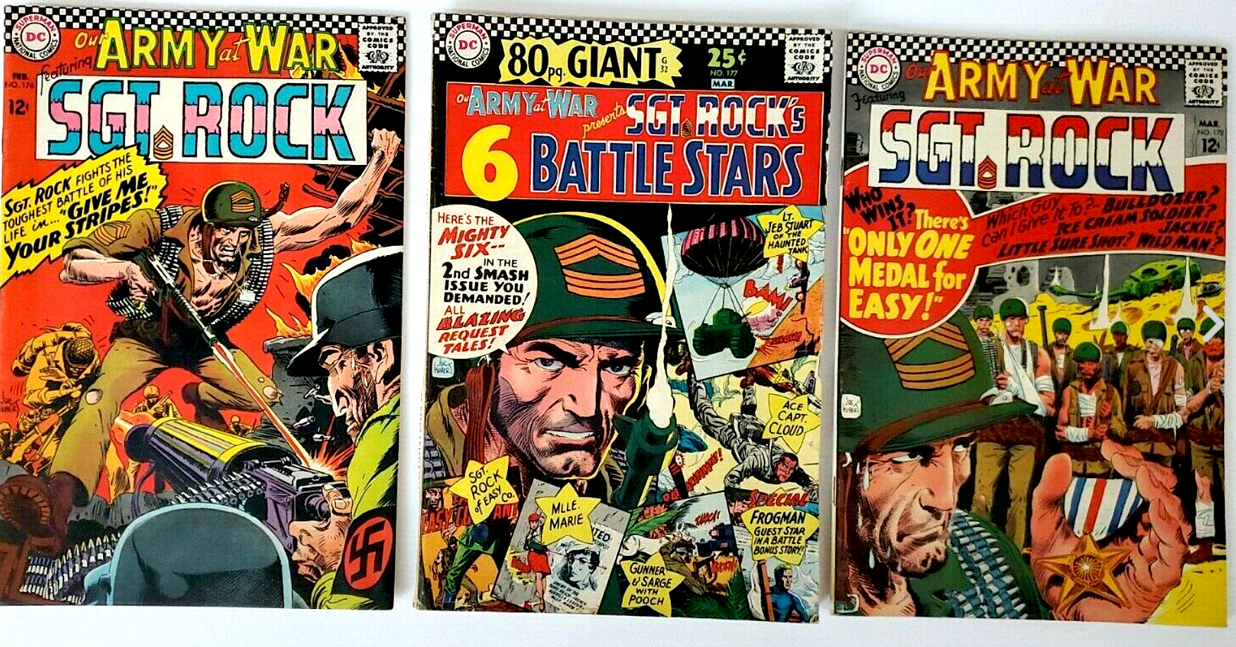 DC COMICS SILVER AGE OUR ARMY AT WAR SGT. ROCK No. 176, 177, 178 (3 issues)