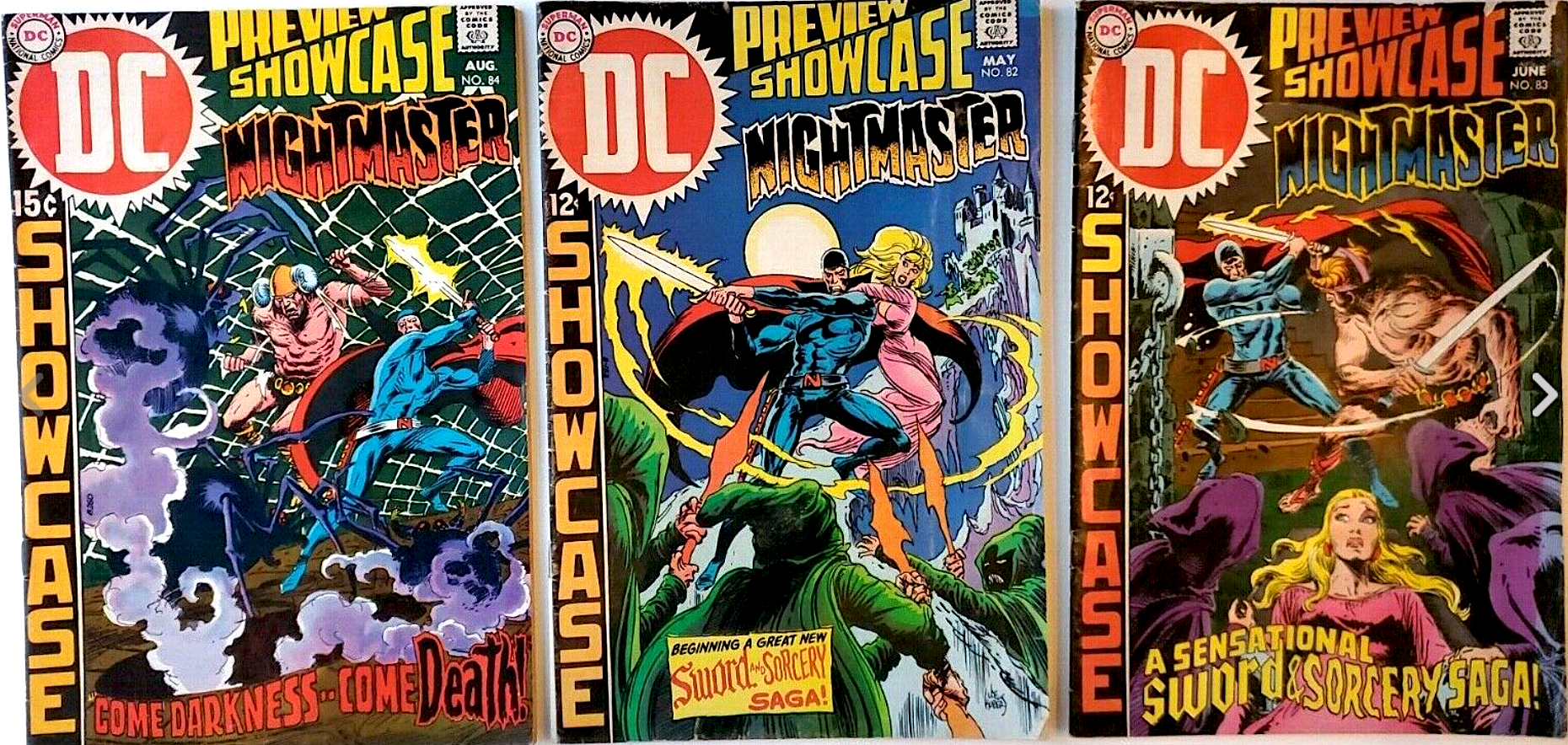 DC COMICS SILVER AGE SHOWCASE NIGHTMASTER No. 82, 83, 84 (3 issues)