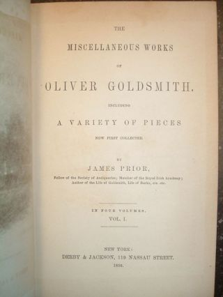 THE MISCELLANEOUS WORKS OF OLIVER GOLDSMITH [4 VOLUMES]