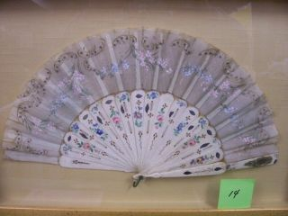 HAND-PAINTED FAN BONE/SILK ca 1920's
