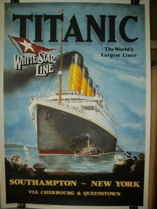 TITANIC WHITE STAR LINE STONE LITHO POSTER by PC FUSSEY. Dieter Raoul Sauer