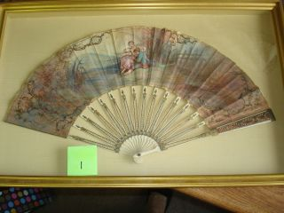 FRAMED MID-18TH-CENTURY VELLUM FAN