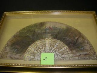 FRAMED LATE 18TH-CENTURY FAN WITH PASTORAL SCENE