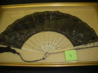 FRAMED EARLY 20TH-CENTURY FAN WITH SEQUINS
