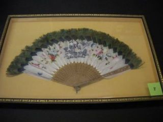 FRAMED CHINESE FAN WITH PEACOCK FEATHERS