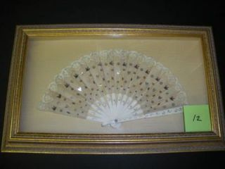 FRAMED EARLY 1900S FAN WITH METALLIC BIRDS