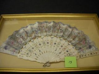 FRAMED MID 19TH-CENTURY FAN, DECORATED ON BOTH SIDES