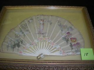 FRAMED EARLY 20TH-CENTURY HAND-PAINTED FAN