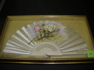 FRAMED 20TH-CENTURY SATIN FAN