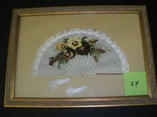 FRAMED CA. 1900 CARD IN THE FORM OF AN ANTIQUE FAN