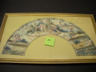 FRAMED EARLY 18TH-CENTURY VELLUM FAN LEAF PIECE