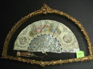 FRAMED LARGE ANTIQUE FAN WITH MOTHER-OF-PEARL GUARD STICKS