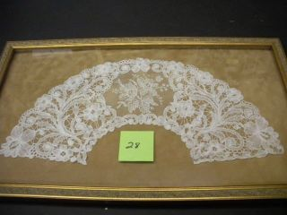 FRAMED ANTIQUE LACE FAN LEAF PIECE