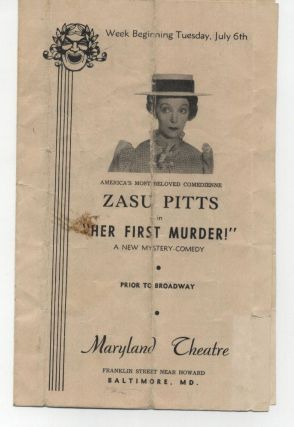 "SIGNED 8X10 PHOTO OF ZASU PITTS in ""HER FIRST MURDER"" with PROGRAM 1943"