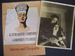 "KATHARINE CORNELL SIGNED PHOTO AND BOOK ""ANTONY and CLEOPATRA"" 1948"