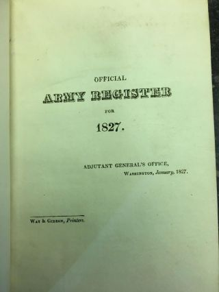 OFFICIAL ARMY REGISTER FOR 1827. Adjutant General's Office