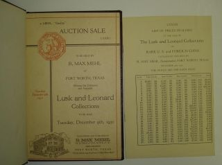 THE LUSK AND LEONARD COLLECTIONS OF RARE U.S. AND FOREIGN COINS.