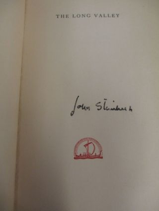 THE LONG VALLEY [Signed]. John Steinbeck
