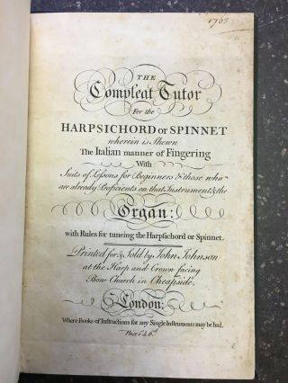THE COMPLEAT TUTOR FOR THE HARPSICHORD OR SPINNET