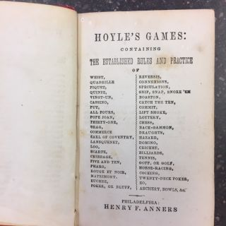 HOYLE'S GAMES: CONTAINING ESTABLISHED RULES AND PRACTICE.