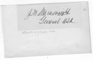 AUTOGRAPH OF GENERAL JONATHAN M. WAINWRIGHT