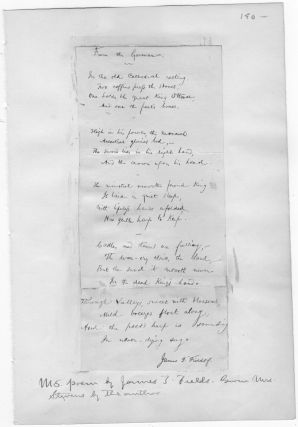 AUTOGRAPH SIGNED POEM BY JAMES FIELDS