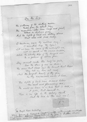 "AUTOGRAPH POEM BY BAYARD TAYLOR WITH INITIALS ""B.T."""
