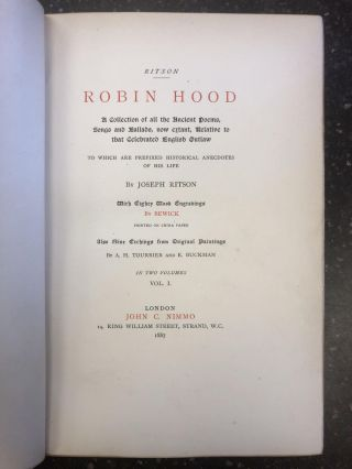 ROBIN HOOD - A COLLECTION OF ALL THE ANCIENT POEMS, SONGS AND BALLADS, NOW EXTANT, RELATIVE TO...