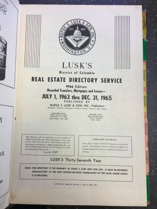LUSK'S DISTRICT OF COLUMBIA REAL ESTATE SERVICE - 1966 EDITION