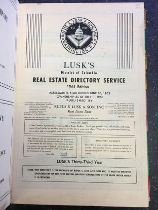 LUSK'S DISTRICT OF COLUMBIA REAL ESTATE SERVICE - 1961 EDITION. Rufus S. Lusk