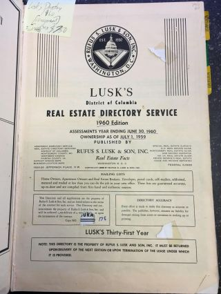 LUSK'S DISTRICT OF COLUMBIA REAL ESTATE SERVICE - 1960 EDITION. Rufus S. Lusk