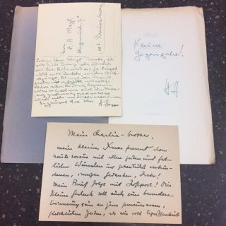 GLUCK [Initialed, With signed postcard and letter by Hesse]. Hermann Hesse