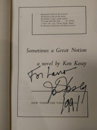 SOMETIMES A GREAT NOTION [INSCRIBED]