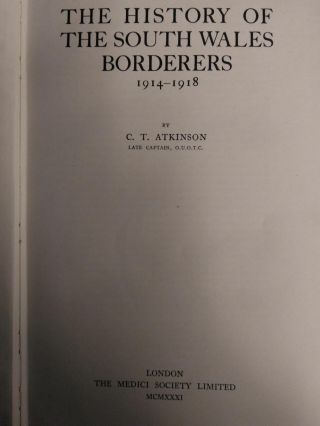 THE HISTORY OF THE SOUTH WALES BORDERERS, 1914-1918