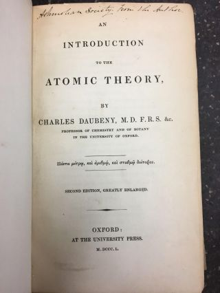 AN INTRODUCTION TO THE ATOMIC THEORY [SIGNED]