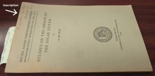Studies on the Origin of the Solar System [inscribed]. D. Ter Haar