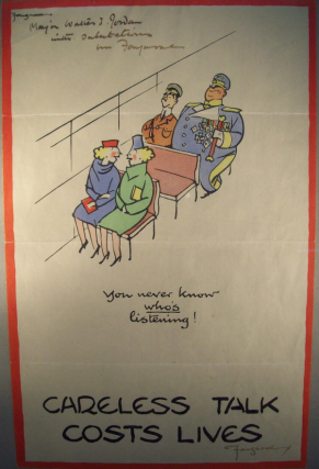 "FIVE FOUGASSE ""CARELESS TALK COSTS LIVES"" 12x16 WWII PROPAGANDA POSTERS 1 SIGNED. FOUGASSE"