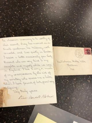 ALS FROM OLIVER WENDELL HOLMES [WIth Stamped Envelope]. Oliver Wendell Holmes