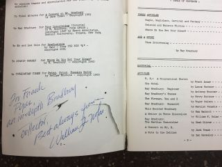 THREE ITEMS SIGNED BY WILLIAM F. NOLAN, INCLUDING THE RAY BRADBURY REVIEW, A NAPKIN DRAWING OF A BEAR, AND THE ORIGINAL MANUSCRIPT OF 'THE TREES OF YESTERDAY'