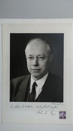 PHOTOGRAPH OF ROBERT A. TAFT WITH STAMP INSCRIBED TO PHOTOGRAPHER. Abdon Daoud Ackad, Robert A. Taft